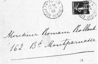 Enveloppe, addressée à Romain Rolland
